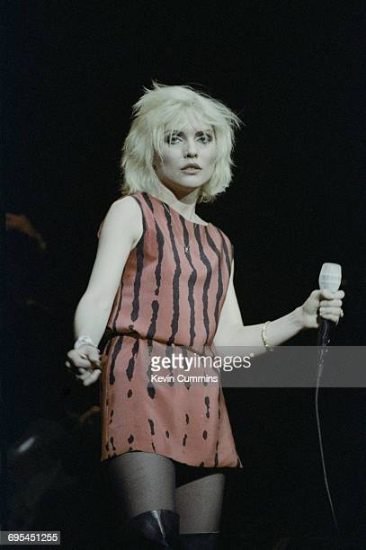 Singer Debbie Harry performing with American new wave group Blondie at the Free Trade Hall in Manchester 28th December 1979