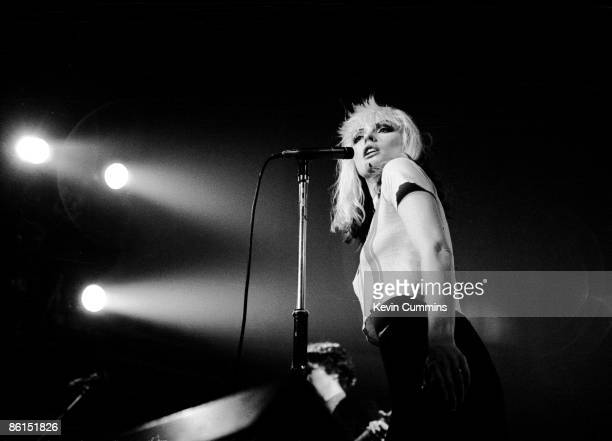 Singer Debbie Harry performing with Blondie at the Free Trade Hall Manchester England 26 May 1977 The band were supporting Television