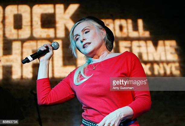 Singer Debbie Harry performs at the grand opening of the Rock and Roll Hall of Fame ANNEX NYC on December 2 2008 in New York City