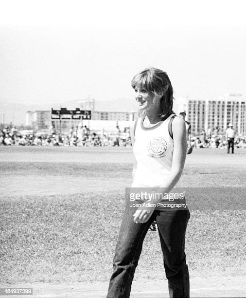 Singer Debby Boone plays in the Kenny Rogers Golden Nugget celebrity softball game to aid the Nevada Special Olympics at UNLV campus on May 29 1977...