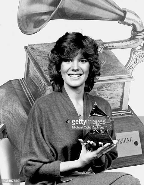 Singer Debby Boone poses with a Grammy Award circa 1979 in Los Angeles California