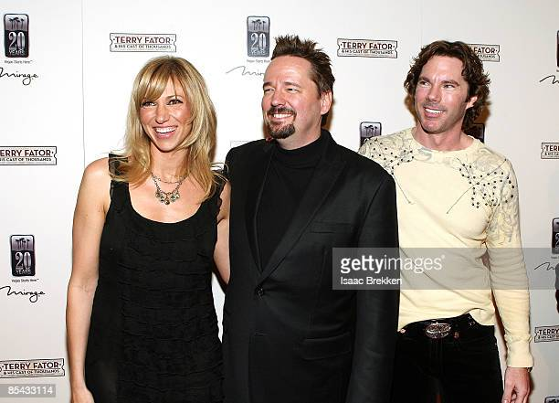 Singer Deborah Gibson comic ventriloquist and impressionist Terry Fator and Rutledge Taylor arrive at the grand opening of Terry Fator His Cast of...