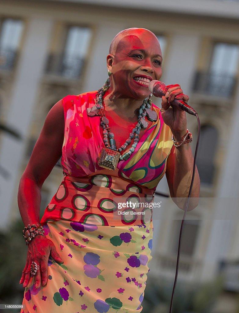 Singer Dee Dee Bridgewater performs on stage at Nice Jazz Festival at Jardin Albert 1er on July 8, 2012 in Nice, France.