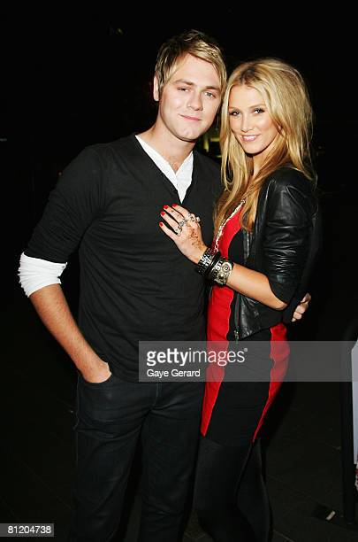 Singer Delta Goodrem and singer Brian McFadden pose at his performance at The Basement Quay May 22, 2008 in Sydney, Australia.