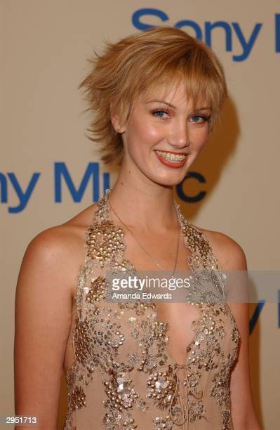 Singer Delta Goodrem arrives at the Sony Music Entertainment PostGrammy Party at Maple Drive Restaurant on February 8 2004 in Beverly Hills California