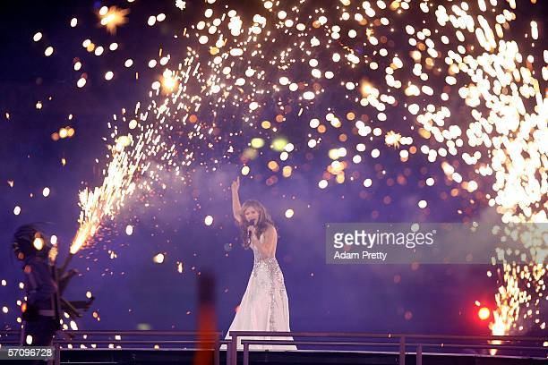 Singer Delta Goodrem performs during the Opening Ceremony for the Melbourne 2006 Commonwealth Games at the Melbourne Cricket Ground March 15 2006 in...