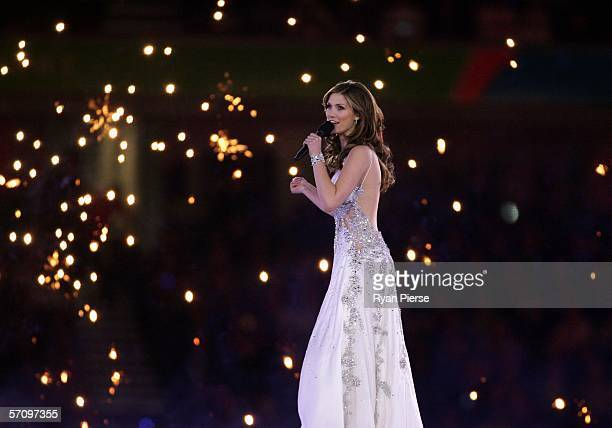 Singer Delta Goodrem performs during the Opening Ceremony for the Melbourne 2006 Commonwealth Games at the Melbourne Cricket Ground March 15, 2006 in...