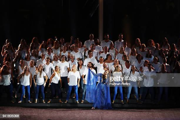 Singer Delta Goodrem performs during the Opening Ceremony for the Gold Coast 2018 Commonwealth Games at Carrara Stadium on April 4 2018 on the Gold...