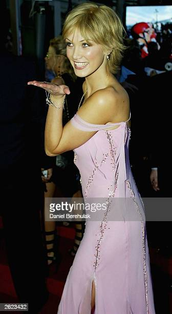 Singer Delta Goodrem poses for photographers during the 17th Annual ARIA Awards at the Sydney Superdome October 21 2003 in Sydney Australia The ARIA...