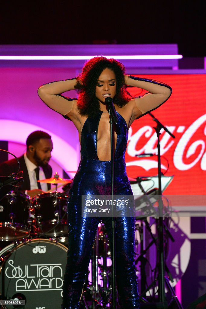 Singer Demetria McKinney performs during the 2017 Soul Train Music Awards at the Orleans Arena on November 5, 2017 in Las Vegas, Nevada.