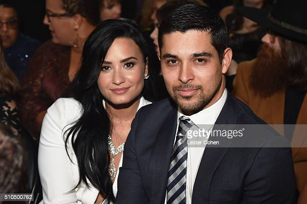 Singer Demi Lovato and actor Wilmer Valderrama attend The 58th GRAMMY Awards at Staples Center on February 15 2016 in Los Angeles California