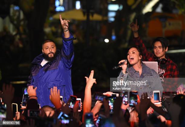 Singer Demi Lovato and DJ Khaled appear at the Fan Luv event at The Grove on November 2 2017 in Los Angeles California