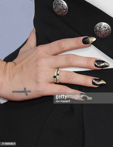 Singer Demi Lovato arrives at iHeartRadio Music Awards on April 3 2016 in Inglewood California