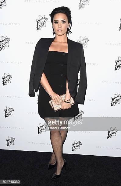 Singer Demi Lovato arrives at Stella McCartney Autumn 2016 Presentation at Amoeba Music on January 12 2016 in Los Angeles California