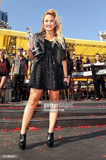 Singer Demi Lovato arrives at the 2012 MTV Video Music Awards at Staples Center on September 6 2012 in Los Angeles California