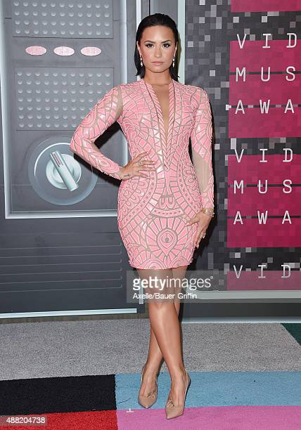 Singer Demi Lovato arrives at the 2015 MTV Video Music Awards at Microsoft Theater on August 30, 2015 in Los Angeles, California.