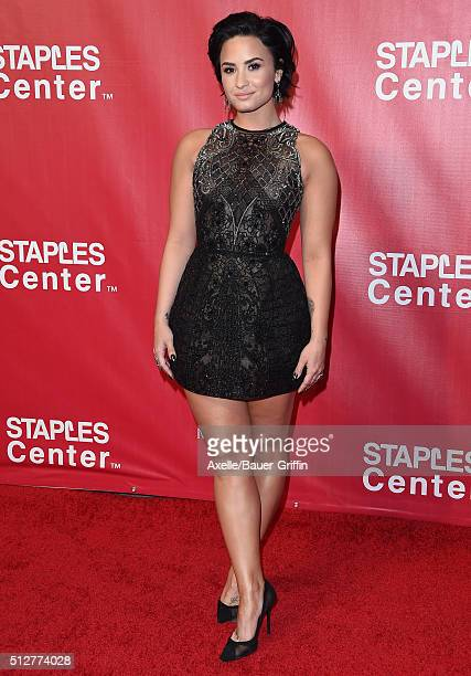 Singer Demi Lovato arrives at the 2016 MusiCares Person of the Year honoring Lionel Richie at Los Angeles Convention Center on February 13, 2016 in...