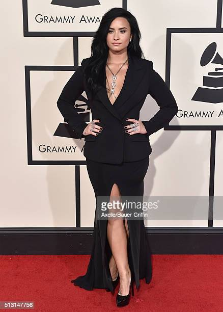 Singer Demi Lovato arrives at The 58th GRAMMY Awards at Staples Center on February 15 2016 in Los Angeles California