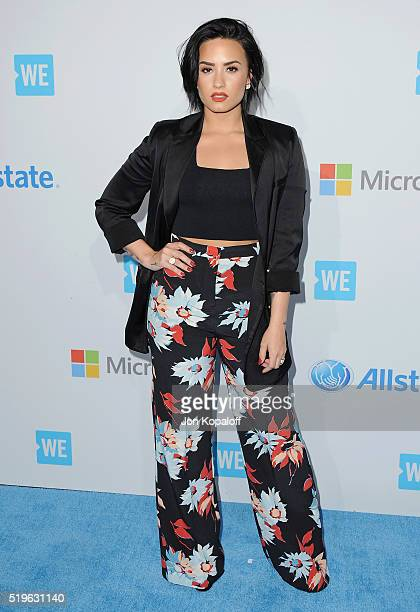 Singer Demi Lovato arrives at WE Day California at The Forum on April 7 2016 in Inglewood California