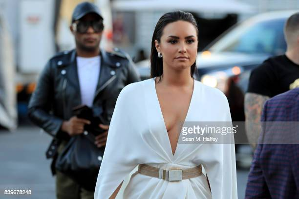 Singer Demi Lovato arrives for the super welterweight boxing match between Floyd Mayweather Jr and Conor McGregor on August 26 2017 at TMobile Arena...
