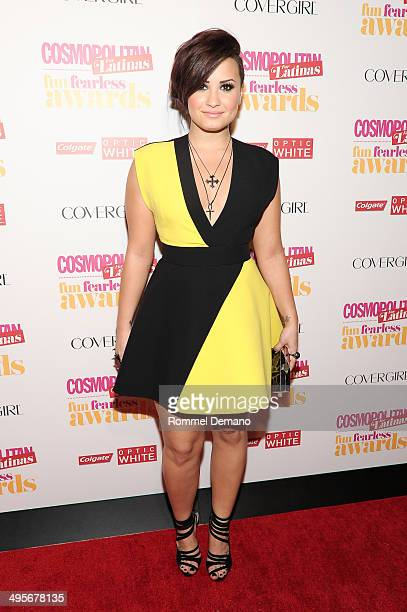 """Singer Demi Lovato attends Cosmopolitan """"Fun, Fearless"""" Latina Awards at Hearst Tower on June 4, 2014 in New York City."""