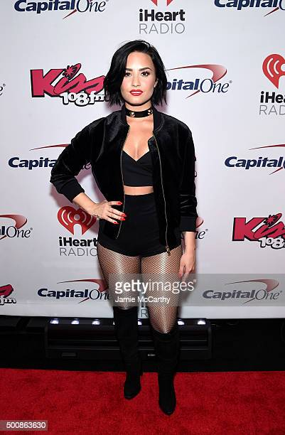 Singer Demi Lovato attends KISS 108's Jingle Ball 2015 Presented by Capital One at TD Garden on December 10 2015 in Boston Mass