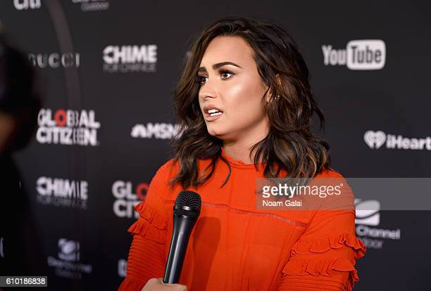 Singer Demi Lovato attends the 2016 Global Citizen Festival In Central Park To End Extreme Poverty By 2030 at Central Park on September 24 2016 in...
