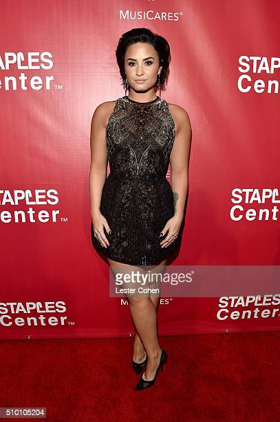 Singer Demi Lovato attends the 2016 MusiCares Person of the Year honoring Lionel Richie at the Los Angeles Convention Center on February 13, 2016 in...