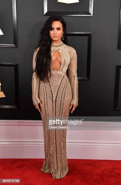 Singer Demi Lovato attends The 59th GRAMMY Awards at STAPLES Center on February 12, 2017 in Los Angeles, California.