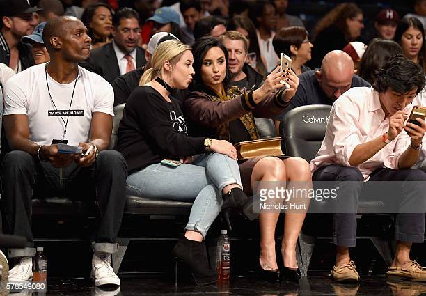 Singer Demi Lovato attends the Roc Nation Summer Classic Charity Basketball Tournament at Barclays Center of Brooklyn on July 21 2016 in New York City