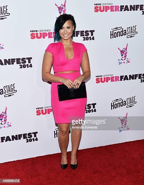 Singer Demi Lovato attends the Vevo CERTIFIED SuperFanFest presented by Honda Stage at Barkar Hangar arrives at the at Barker Hangar on October 8,...