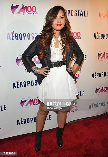 Singer Demi Lovato attends Z100's Jingle Ball 2011 Official Kick Off Party presented By Aeropostale at Aeropostale Times Square on October 21 2011 in...