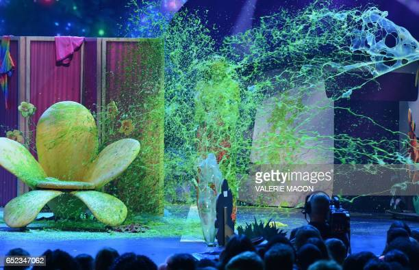 Singer Demi Lovato gets slimed on stage at the 30th Annual Nickelodeon Kids' Choice Awards on March 11 at the Galen Center on the University of...