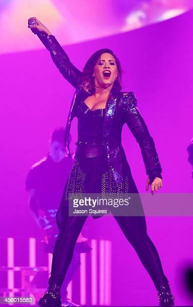 Singer Demi Lovato performs at Sprint Center on September 23 2014 in Kansas City Missouri