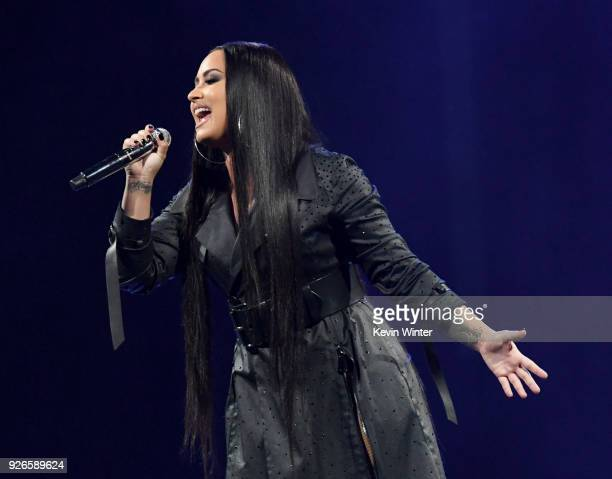 Singer Demi Lovato performs at The Forum on March 2 2018 in Inglewood California