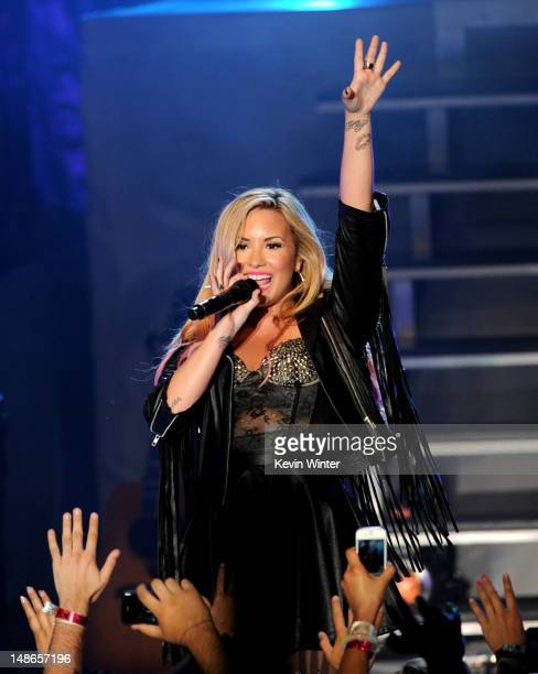 Singer Demi Lovato performs at the Greek Theatre on July 18 2012 in Los Angeles California
