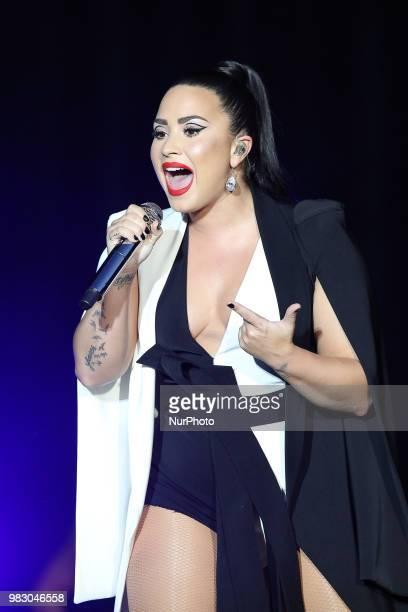 US singer Demi Lovato performs at the Rock in Rio Lisboa 2018 music festival in Lisbon Portugal on June 24 2018