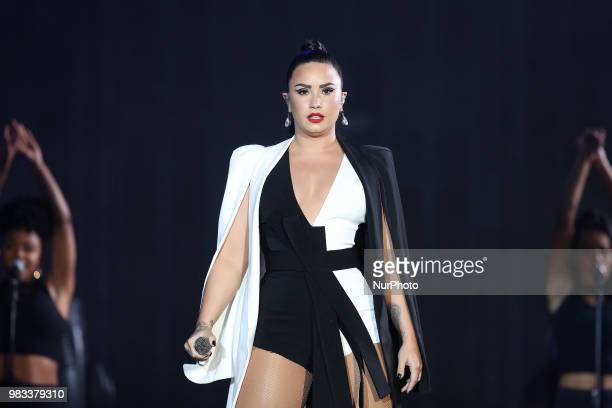US singer Demi Lovato performs at the Rock in Rio Lisboa 2018 music festival in Lisbon Portugal on June 24 2018