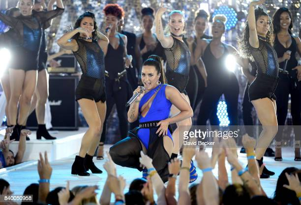 Singer Demi Lovato performs during a pretaping for the 2017 MTV Video Music Awards at the Palms Casino Resort on August 24 2017 in Las Vegas Nevada