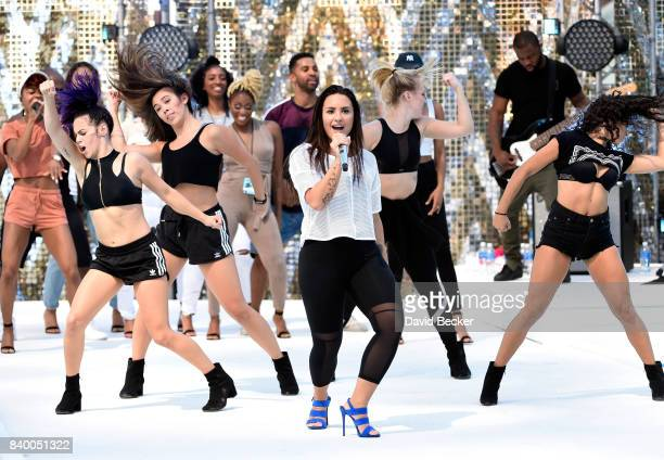 Singer Demi Lovato performs during a rehearsal prior to pretaping a performance for the 2017 MTV Video Music Awards at the Palms Casino Resort on...