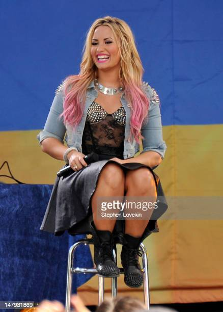 Singer Demi Lovato performs on ABC's Good Morning America at Rumsey Playfield Central Park on July 6 2012 in New York City