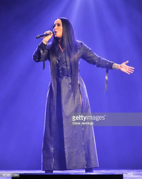 Singer Demi Lovato performs on the Tell Me You Love Me World Tour at SAP Center on February 28 2018 in San Jose California