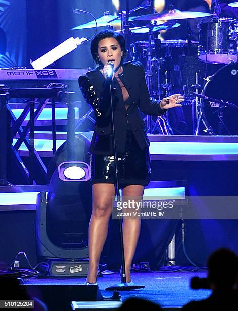 Singer Demi Lovato performs onstage at the 2016 MusiCares Person of the Year honoring Lionel Richie at the Los Angeles Convention Center on February...