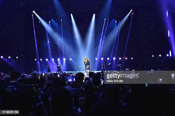 Singer Demi Lovato performs onstage at WE Day California 2016 at The Forum on April 7 2016 in Inglewood California