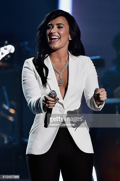Singer Demi Lovato performs onstage during The 58th GRAMMY Awards at Staples Center on February 15 2016 in Los Angeles California