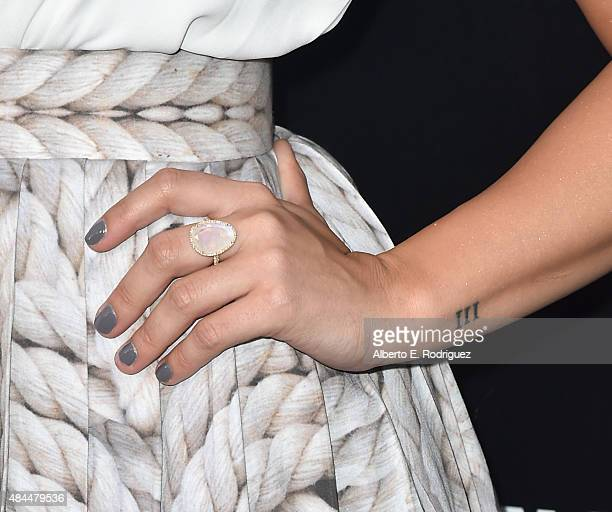 Singer Demi Lovato ring detail attends the Samsung Galaxy S6 Edge Plus and Note 5 Launch party on August 18 2015 in West Hollywood California