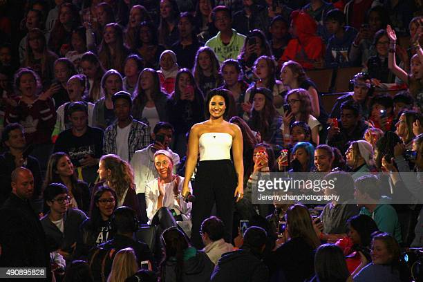 Singer Demi Lovato speaks during WE Day Toronto at the Air Canada Centre on October 1 2015 in Toronto Canada