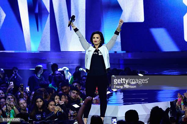 Singer Demi Lovato speaks onstage at WE Day California 2016 at The Forum on April 7 2016 in Inglewood California
