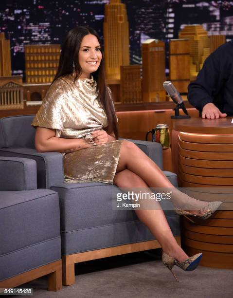 Singer Demi Lovato visits The Tonight Show Starring Jimmy Fallon at Rockefeller Center on September 18 2017 in New York City