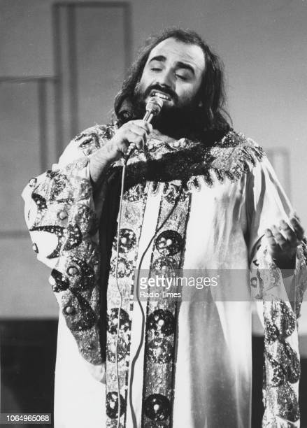 Singer Demis Roussos performing on the television series 'Twiggy' August 13th 1975